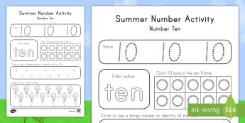 Summer Number Ten Activity Sheet - Summer, summer season, first day of summer, summer vacation, summertime, number recognition, number