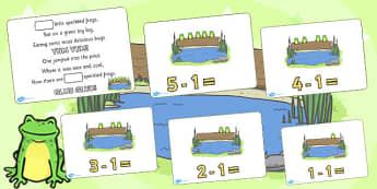 5 Little Speckled Frogs Writing Frames - 5 Little Speckled Frogs, frogs, five little speckled frogs, writing frames, writing, independent writing, counting, nursery rhyme, song, little speckled frogs