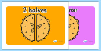 Pie Fraction Display Posters - Fraction, numeracy, fractions, half, quarter, whole, three quarters, two halves