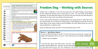 Freedom Day Working with Sources Activity Sheet - South Africa, Freedom Day, 27th April, voting, elections, eye witness account, sources, diary, writi