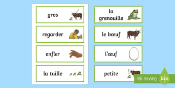 The Frog and the Ox Word Cards French - KS2, French, Fables, Jean De La Fontaine, The frog and the ox, Word Cards,,French