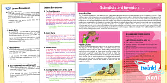 PlanIt - Science Year 3 - Scientists and Inventors Planning Overview CfE - Planit, CfE, scientists, science, inventors, rocks, fossils, light, electricity, xray, Marie Curie, William Smith, Inge Lehmann