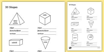 3D Shape Properties Worksheets - 3D, shapes, shape properties