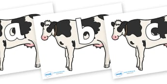 Phoneme Set on Cows - Phoneme set, phonemes, phoneme, Letters and Sounds, DfES, display, Phase 1, Phase 2, Phase 3, Phase 5, Foundation, Literacy