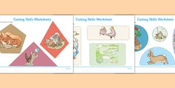 Beatrix Potter Cutting Skills Worksheets - beatrix potter, author, cutting skills, cut, skills, worksheets