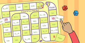 Self Checking 2, 5 and 10 Times Tables Board Game - board, game