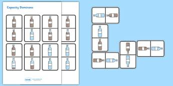 Capacity Dominoes - capacity dominoes, capacity, capacities, empty, full, nearly full, half full, nearly empty, measurement, game, activity, fun, dominoe, dominoes