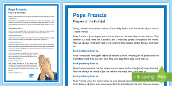 Pope Francis Prayers of the Faithful Print-Out] - prayers of the faithful, Pope, Pope Francis, Roman Catholic, Catholic Schools' Week, assembly, pray