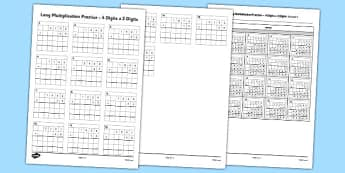 4 Digits x 2 Digits Multiplication Activity Sheet - long multiplication, practice, 4 digits, 2 digits