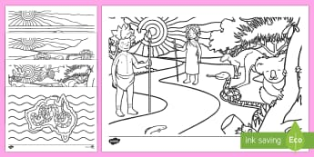 The Rainbow Serpent Colouring Pages