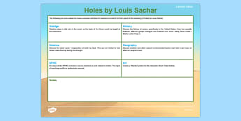 Holes by Louis Sachar Teaching Ideas-Irish