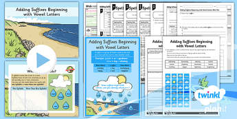 PlanIt Y3 SPaG Lesson Pack: Adding Suffixes Beginning with Vowel Letters - GPS, grammar, spelling, punctuation, root word