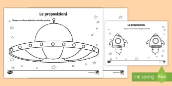 Preposizioni con lo Spazio e gli Alieni Attività - preposizioni, grammatica, italiano, italian, alieni, spazio, navicella, materiale, scolastico, color