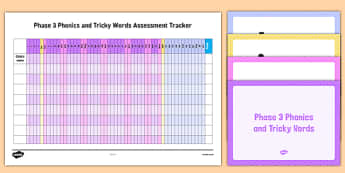 Phase 3 Phonics and Tricky Words Assessment Tracker and PowerPoint Pack - EYFS, letters and sounds