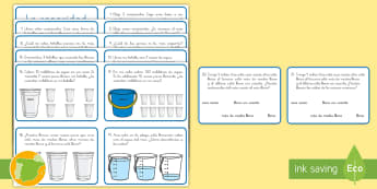 Tarjetas de desafío de matemáticas: La capacidad - CI - medida, capacidad, mates, medir medida, medir capacidad, desafío, tarjetas, CI, matemáticas, ,Span