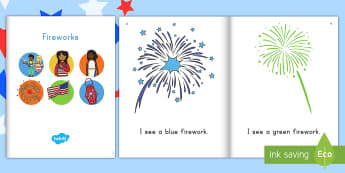 Fireworks eBook - Independence Day, 4th July, July 4th, American Independence, ebook, emergent reader, fireworks, colo