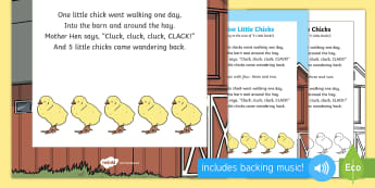 Five Little Chicks Rhyme - spring, chicks rhyme, five little chicks, chicks, five, rhyme