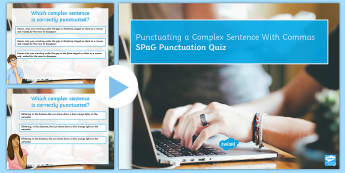 KS3 SPaG Punctuating a Complex Sentence with Commas Quiz  PowerPoint - Punctuating a Sentence With Commas SPaG Punctuation Powerpoint, puntuation, punctatuion, puncuation,