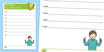 Yes I Can! My Achievements KS1 Activity Sheet, worksheet