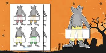 Editable Halloween Werewolf Self Registration - Halloween, pumpkin, witch, bat, scary, black cat, Self registration, register, editable, labels, registration, child name label, printable labels, mummy, grave stone, cauldron, broomstick, haunted house