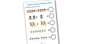 Handas Surprise Addition Sheet - Handas surprise, addition sheet, handas surprise addition sheet, addition, handas surprise worksheet