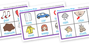 Phase 3 Grapheme Bingo - Phase 3, Phonic, phoneme, graphemes, phase three, Phonics, bingo, DfES Letters and Sounds, Letters and sounds, lotto