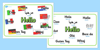 Mixed Language Hello Display Signs - Hello sign, hola, ola, Guten Tag, bonjour, salut, hello, language, differernt languages