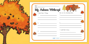 Autumn Write Up Worksheet - writing template, writing aid, write