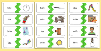 Phase 5 Real i-e Split Digraph Words Matching Cards, silent e