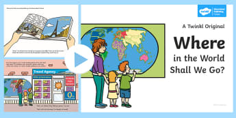 Exploring My World - Where in the World Shall We Go? Story PowerPoint - the travel agents, aistear, holiday, travel agency, story, book, ,Irish
