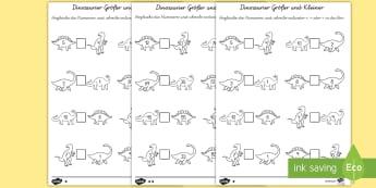 Dinosaurier Größer und Kleiner  Arbeitsblatt: Zahlen vergleichen - Dinosaurier Größer und Kleiner Arbeitsblatt: Zahlen Vergleichen, Zahlen Vergleichen, Nummern Vergl