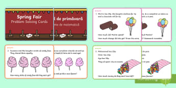 Spring Maths Challenge Cards English/Romanian - NI Spring, fair, addition, subtraction, multiplication, division, mental math, money, pence.,Romania