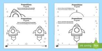 Alien Positional Language Activity Sheet English/Polish -  positional language, language, EAL, language worksheets, positional worksheets, positions, position