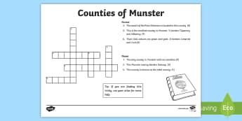 Counties of Munster Crossword - ROI - The World Around UsWAU,Irish