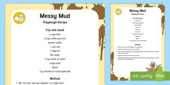 Messy Mud Playdough Recipe - Safari, mud, malleable play, muddy, messy play,
