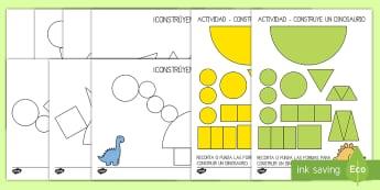 Ficha de construir un dinosaurio de figuras planas - Dinosaurios, pre-historia, dinos, tyranosaurio, estegosaurio, triceratops, proyectos, aprendizaje ba