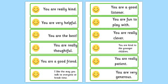 Giving Compliments Prompt Cards - visual aid, making friends, SEN