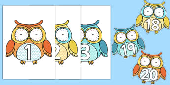 1-20 on Superb Owls - 1-20, superb owls, superb, owls, display, numbers, 1, 20, super bowl