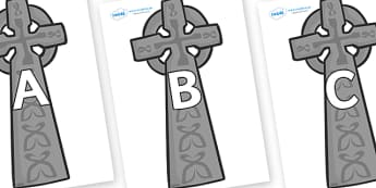 A-Z Alphabet on Celtic Cross - A-Z, A4, display, Alphabet frieze, Display letters, Letter posters, A-Z letters, Alphabet flashcards