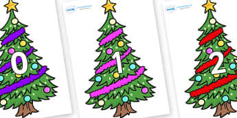 Numbers 0-100 on Christmas Trees (Decorated) - 0-100, foundation stage numeracy, Number recognition, Number flashcards, counting, number frieze, Display numbers, number posters