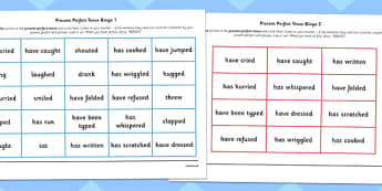 Present Perfect Tense Bingo - tense, game, bingo, present, perfect