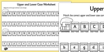 Upper Case and Lower Case Matching Worksheet - alphabet, upper case worksheet, lower case worksheet, cases worksheet, alphabet worksheet, alphabet matching