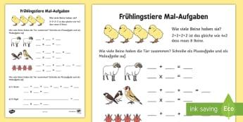 Frühlingstiere Mal Aufgaben Arbeitsblatt: Erstes Rechnen - Multiplikation, Addition, Mathe, Tiere, multiplication, addition, maths, animals, pets,German
