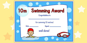 10m Swimming Certificate - swimming, certificate, 10m, awards