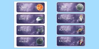 Spatiu, Cartonase cu vocabular ilustrat - planete, galaxie, nave