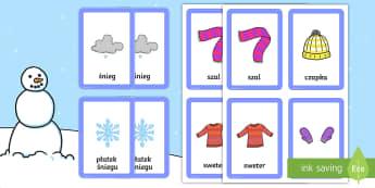 Karty Szukanie par Zima - karty, gra, gry, karcianka, dopasuj, pary, kart, zima, śnieg, bałwanek, bałwan, czapka, szal, sza