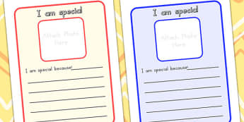 I Am Special Peer Comments Sheet - special, ourselves, peers