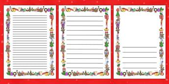 Christmas Writing Border - Christmas, xmas, Happy Christmas, tree, advent, nativity, page border, border, writing template, writing aid, writing aid, santa, father christmas, Jesus, tree, stocking, present, activity, cracker, angel, snowman, advent