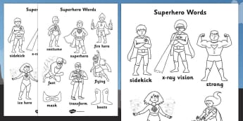 Superhero Themed Words Colouring Sheet - superheroes, colour
