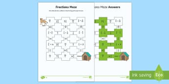 Dog Fractions Maze Differentiated Activity Sheets Activity Sheets - UKS2, maths, fractions, mazes, Christmas, elf